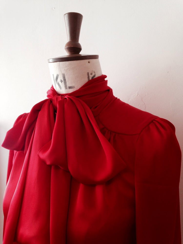 Image of Slinky pussy bow top