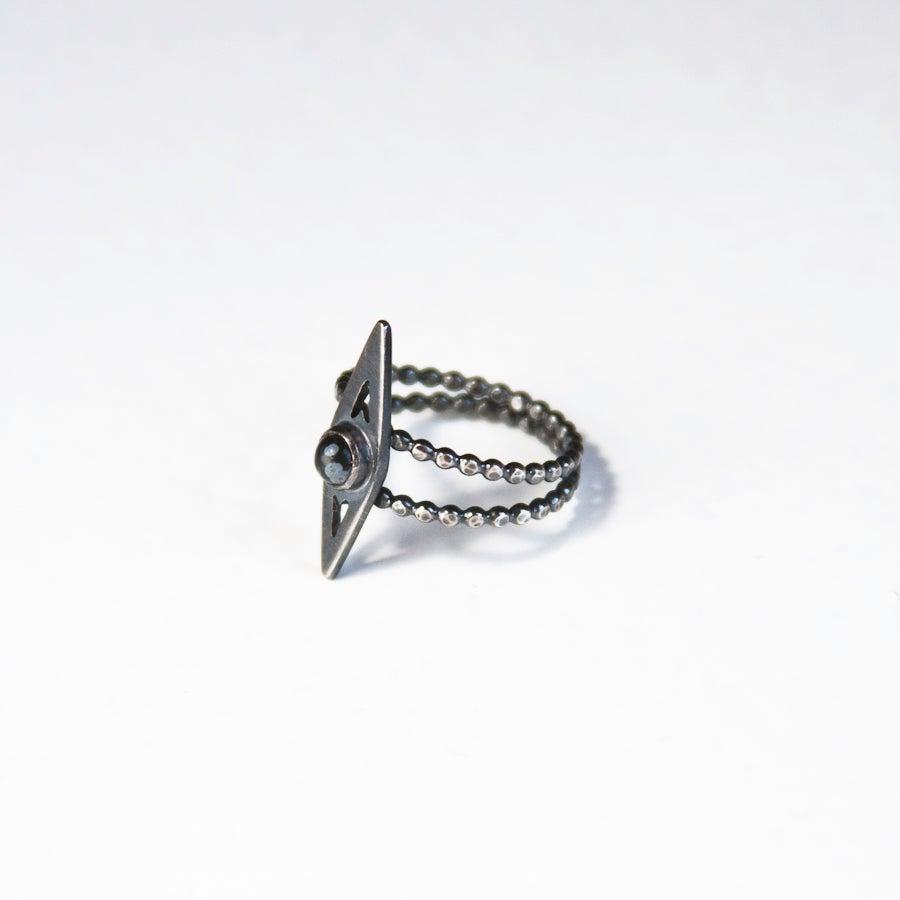 Image of Mini Snowflake Obsidian Ring