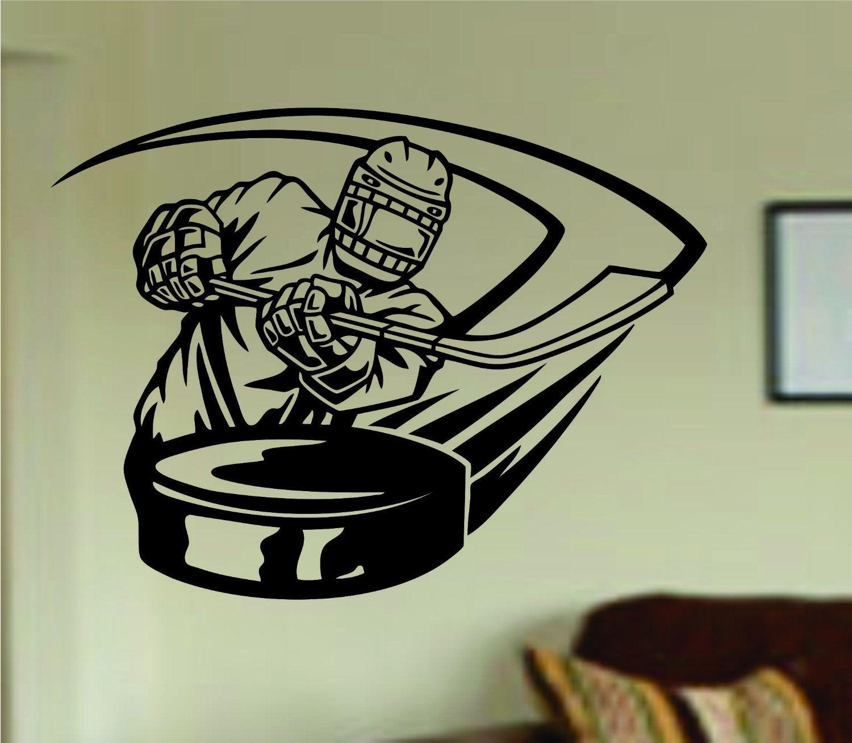 dabbledown decals ice hockey player shooting puck kid children ice hockey player shooting puck kid children ball nursery boy teen sticker wall mural sports teen
