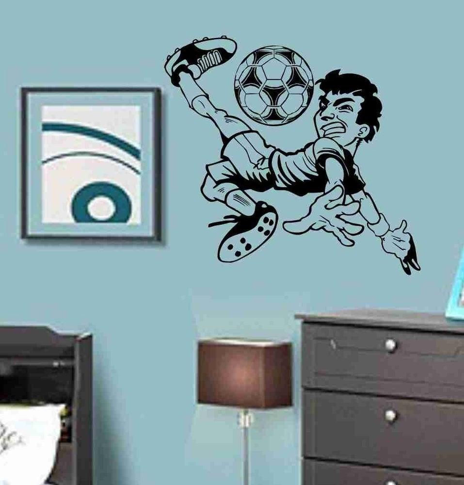 Dabbledown Decals  Boy Kicking Soccer Ball Vinyl Sticker Wall - Nursery wall decals boy