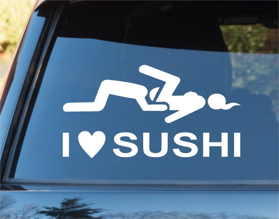 Dabbledown Decals  I Love Sushi Funny Car Window Windshield - Funny car decal stickers