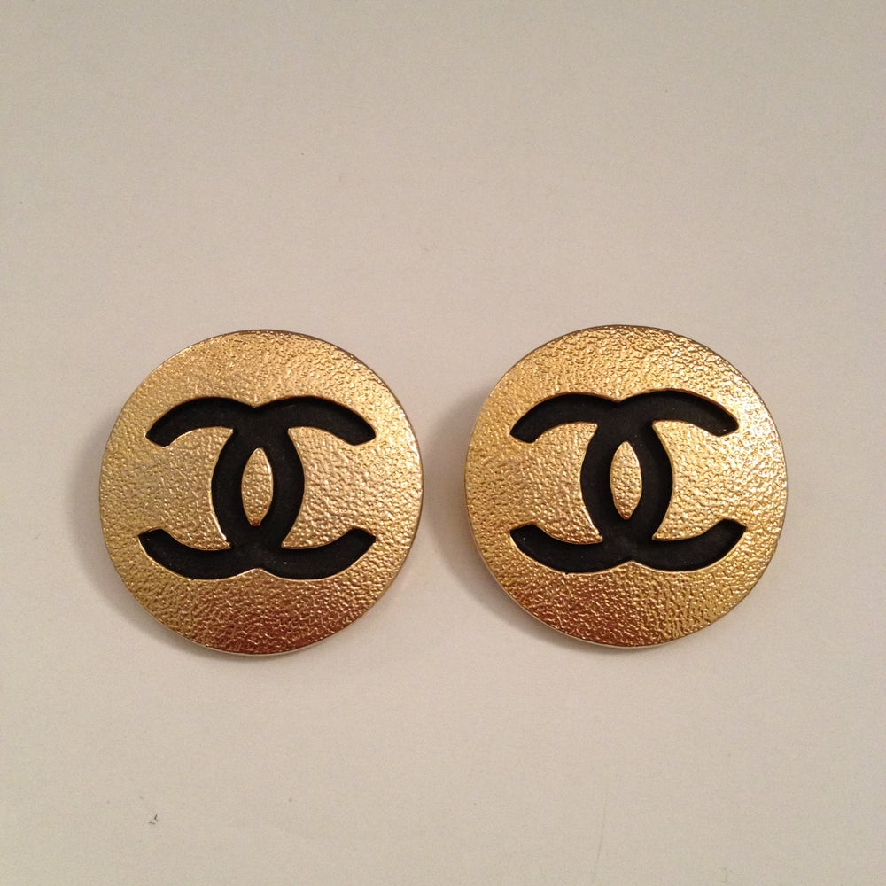 Image of SOLD OUT AUTHENTIC Chanel Black and Gold Logo Huge Round Earrings