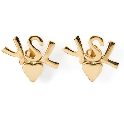Image of AUTHENTIC Vintage YSL HUGE SIGNED Logo Clip On Earrings