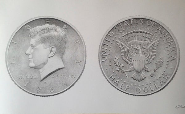 "Image of ""Half Dollar"" - Original Artwork"