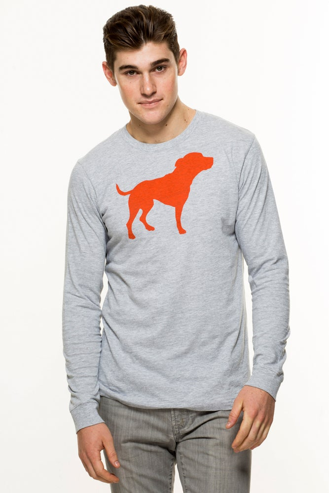 Image of guy's heather grey iconic long sleeve tee