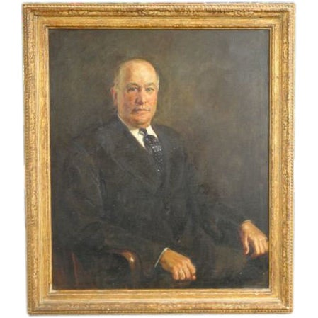 Image of Antique Library Portrait Oil Painting of A Distinguished Gentleman