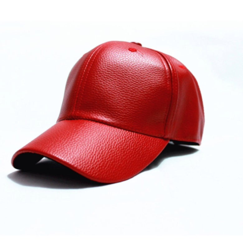 Image of Red Leather Cap