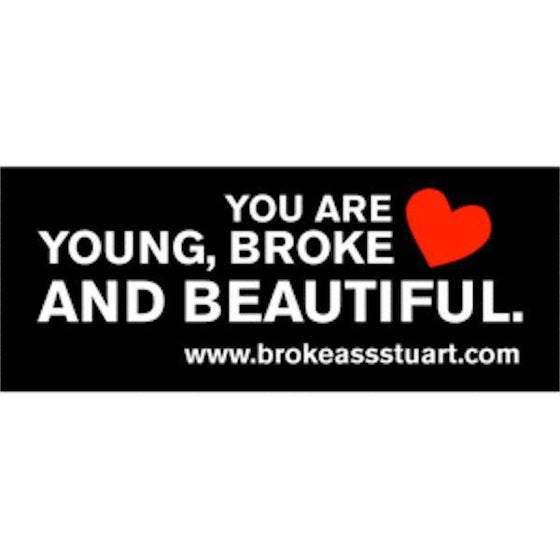 Image of 10 Pack of Young, Broke and Beautiful Stickers
