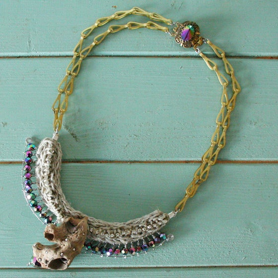 Image of Tribal driftwood hemp sparkly crystal statement beach necklace