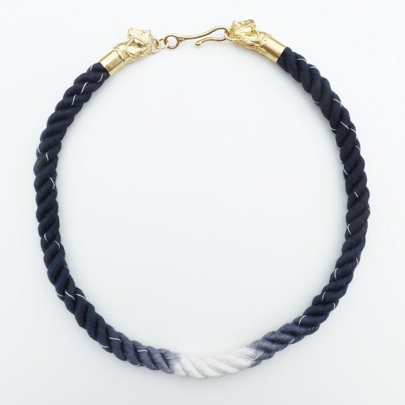 Image of Brass Horse Necklace with Black and White Cord