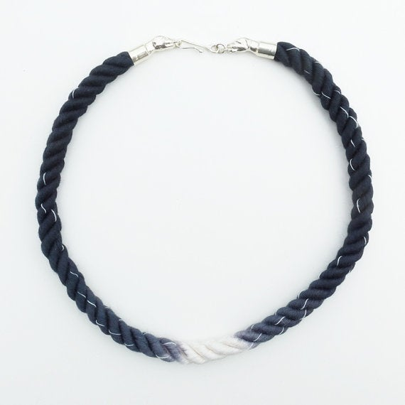 Image of Silver Dog Necklace with Black and White Cord