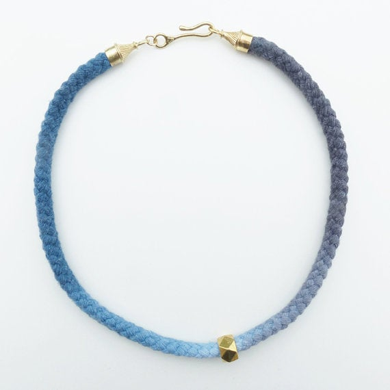 Image of Brass Swirl Necklace with Blue and Gray Cotton Cord and Brass Bead