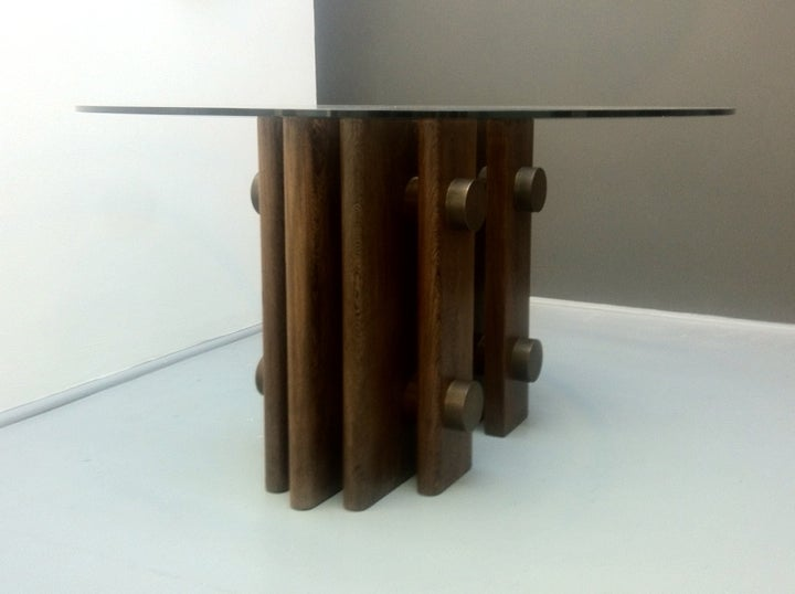Image of Wenge and Bronze Pedestal Table