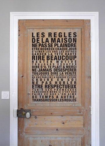 Image of Sticker mural Les Règles de la Maison