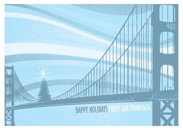 Gigart holiday san francisco bridge tree card pack 8 for Charity motors bridge card