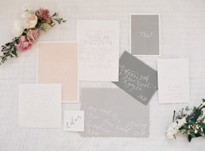 Image of Peach and Blush Invitation and Stationery Set