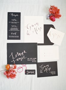 Image of Black and White Invitation and Stationery Set