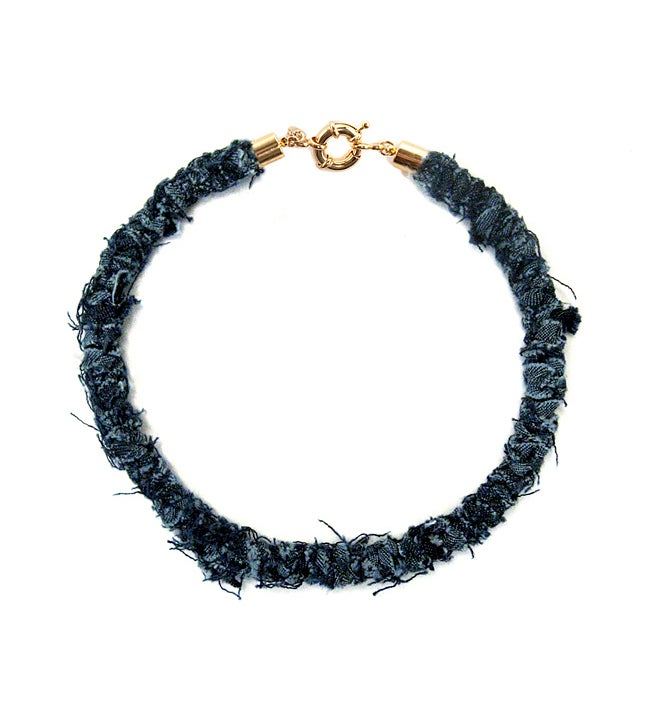 Image of REworked Dark Denim Thin Necklace