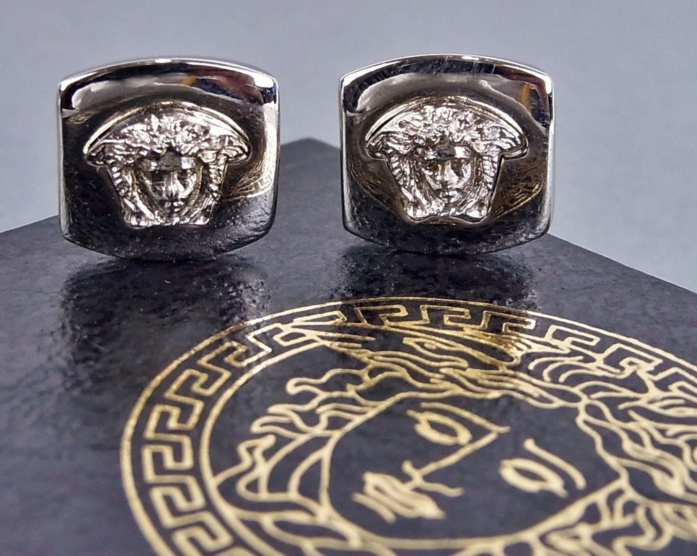 Image of SOLD OUT Gianni Versace Authentic Silvertone Square Medusa Earrings