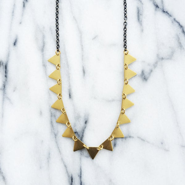 Image of Pennant Triangles Brass Necklace