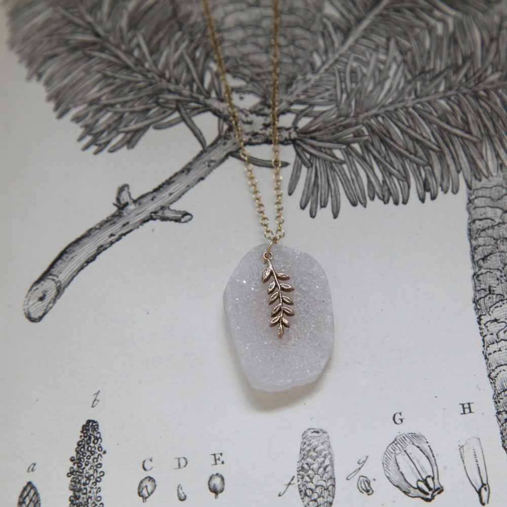 Image of fern leaf & druse quartz necklace