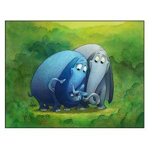 "Image of ""Cradle of Love"" Elephant Family Print"