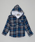 Image of Plaid Hoodie Coat Blu
