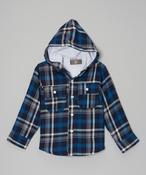 Image of Plaid Hoodie Coat Blu