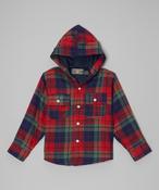 Image of Plaid Hoodie Coat Red