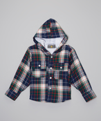 Image of Plaid Hoodie Coat Nvy