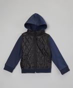 Image of Quilted Puffer Vest Hoodie Dark