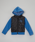 Image of Quilted Puffer Vest Hoodie Blu