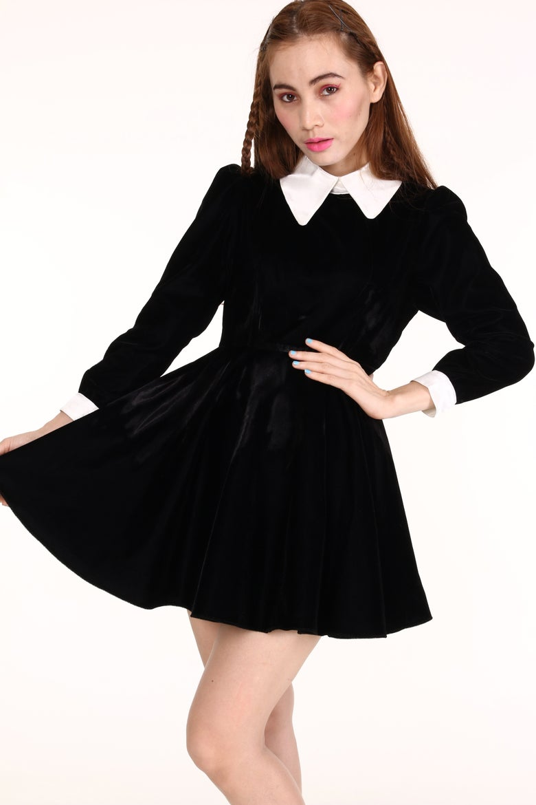 Image of Made To Order - Wednesday Velvet Long Sleeved Dress