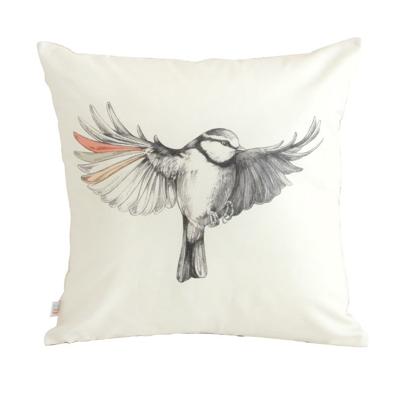 Image of Grand coussin oiseau 45x45cm