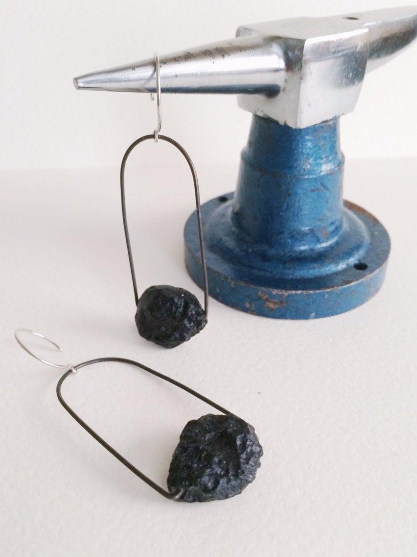 Image of Cosmic loop. Tektite and steel earrings IN STOCK
