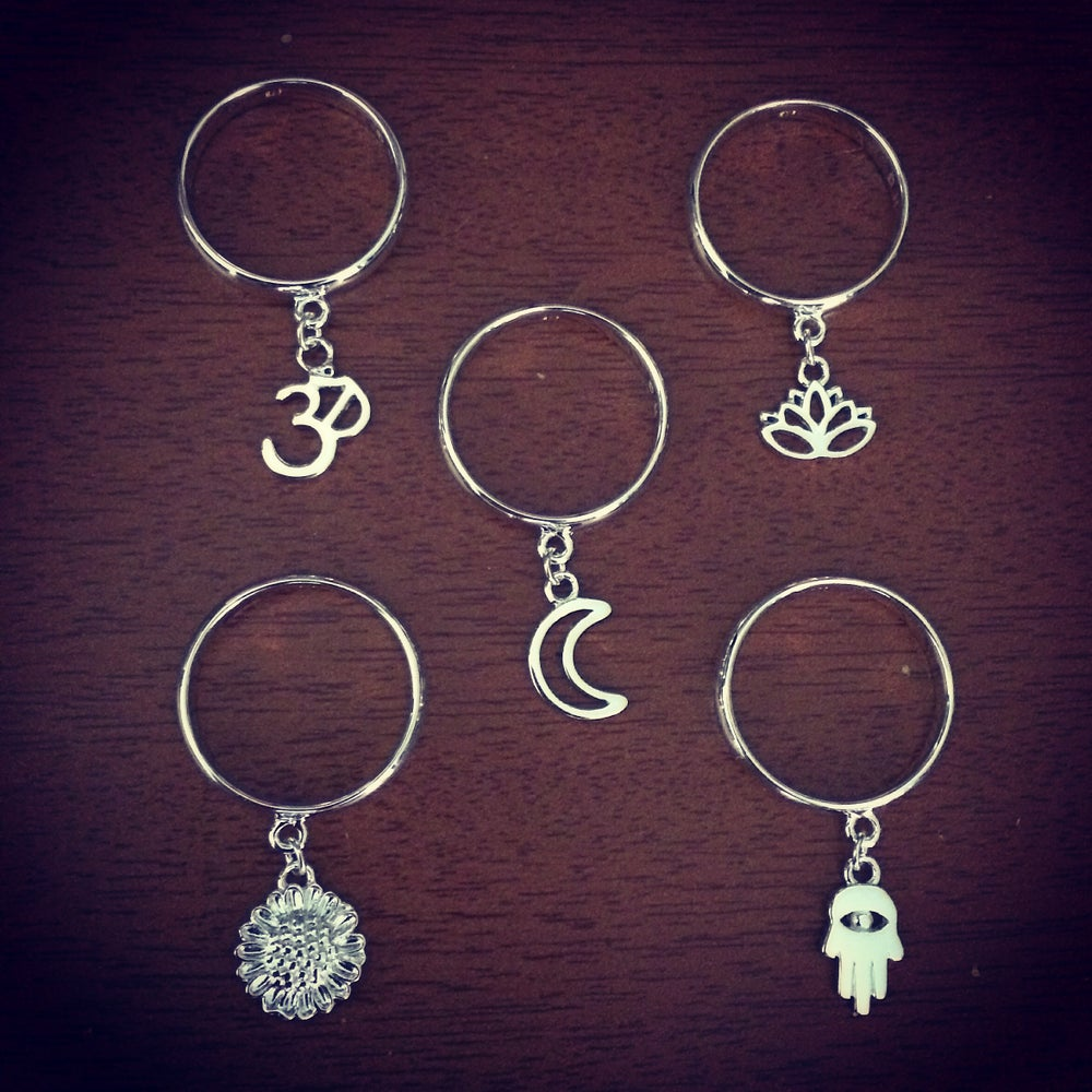 Image of Sterling silver charm dangle stack rings