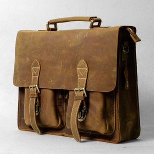 "Image of Vintage Handmade Crazy Horse Leather Briefcase Messenger 14"" 15"" Laptop 13"" 15"" MacBook Bag (n67-9)"