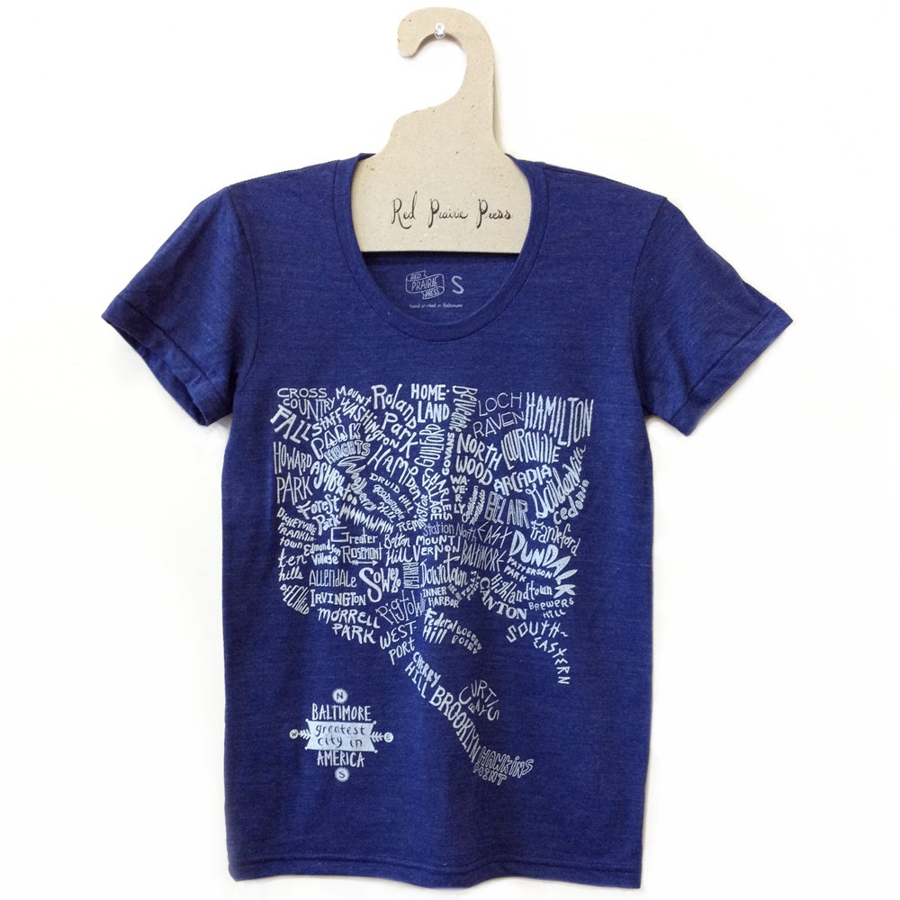 Image of Baltimore Neighborhoods Map Tee (Navy)