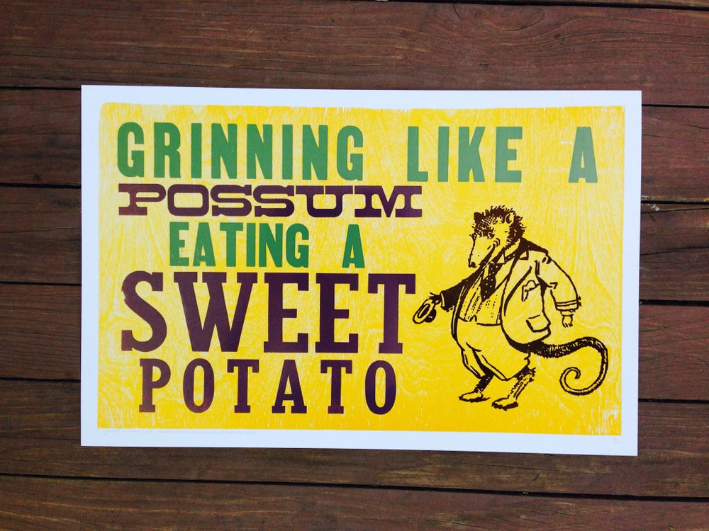 """Image of """"grinning like a possum eating a sweet potato"""" print [eat your words letterpress series]"""