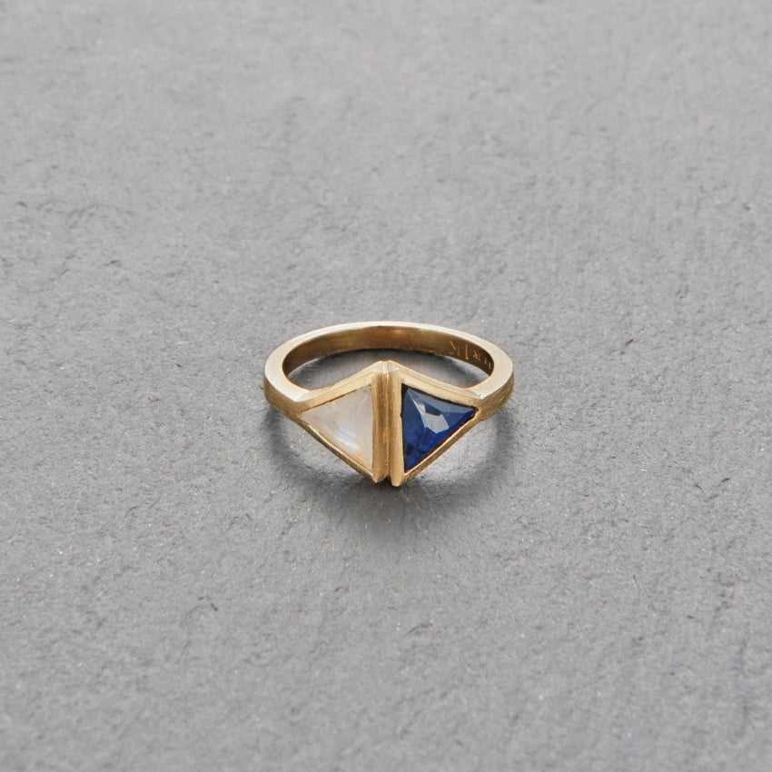 Image of Double Kandy Blue Sapphire Ring Gold