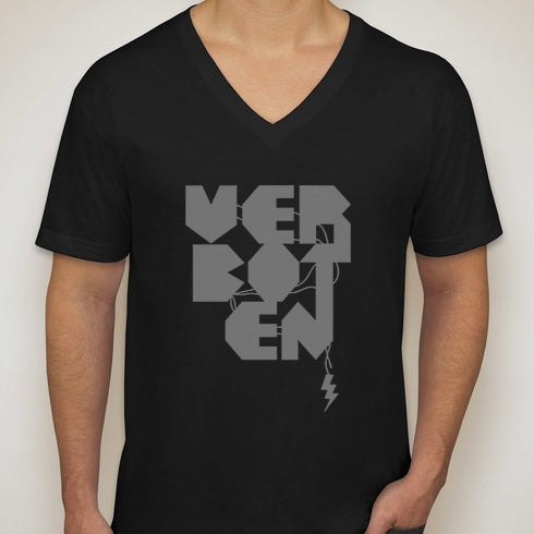 Image of Black V Neck Logo Tee