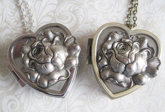 Image of Silver Rose Musical Locket - Sepia Styled