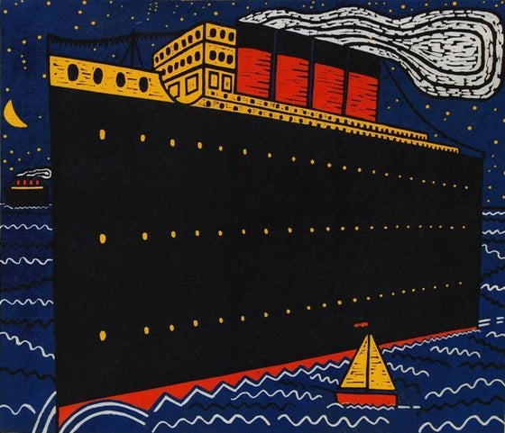 Image of Ships in the Night IV, linocut print, 2014, 51 x 59 cms, edition of 25