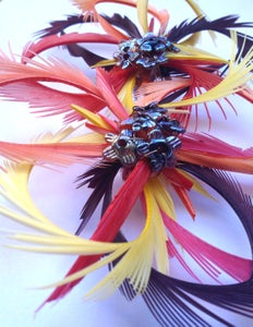 Image of Double Flower Frou Frou (Fascinator) - ambers, orange and red