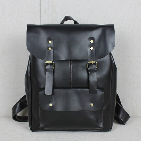"Image of Handmade Leather Backpack / Leather Satchel / Travel Bag / 17"" Laptop 17"" MacBook Bag (B01-2)"