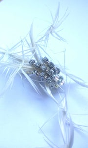 Image of Small white feather diamante Frou Frou (Fascinator)
