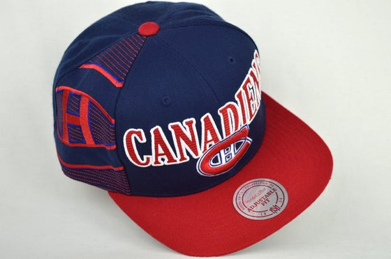 Image of MONTREAL CANADIANS NAVY BLUE/RED LAZER MITCHELL & NESS SNAPBACK CAP