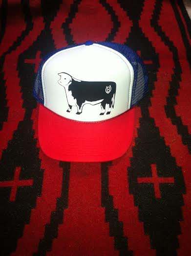 Image of Lucky B Design Hereford truckers hat red/white/blue