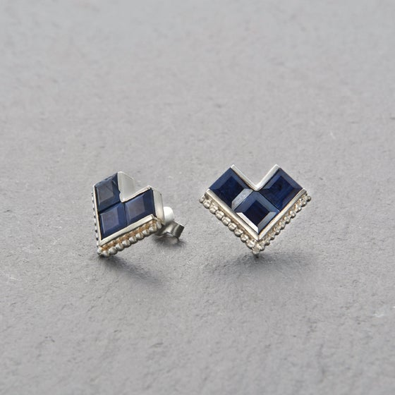 Image of Nallur Blue Sapphire Earrings Silver
