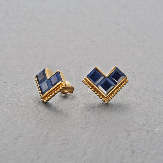 Image of Nallur Blue Sapphire Earrings Gold